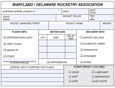 MDRA Flight Cards